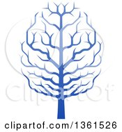 Clipart Of A Gradient Blue Brain Canopied Tree Royalty Free Vector Illustration