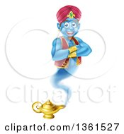 Clipart Of A Cartoon Blue Strong Blue Aladdin Genie Floating Over A Lamp With His Arms Folded Royalty Free Vector Illustration by AtStockIllustration