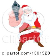 Clipart Of A Christmas Santa Claus Pointing A Gun Royalty Free Vector Illustration by Pushkin