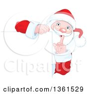Clipart Of A Christmas Santa Claus Gesturing To Be Quite Around A Blank Sign Royalty Free Vector Illustration