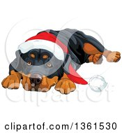 Clipart Of A Cute Christmas Rottweiler Dog Resting His Head Between His Paws And Wearing A Santa Hat Royalty Free Vector Illustration