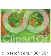 Clipart Of A Background Of A Forest Glade With Trees And Shrubs Royalty Free Vector Illustration