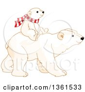 Cute Baby Polar Bear Cub Riding On The Back Of An Adult