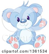 Clipart Of A Cute Blue Teddy Bear Sitting And Waving Royalty Free Vector Illustration by Pushkin
