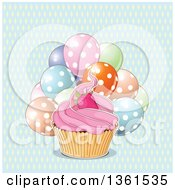 Pink Frosted Cupcake With A Strawberry Over Polka Dot Party Balloons And A Diamond Pattern