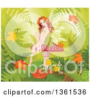 Clipart Of A Beautiful Red Haired White Female Fairy Sitting On A Fly Agaric Mushroom With Autumn Leaves And Ferns Royalty Free Vector Illustration