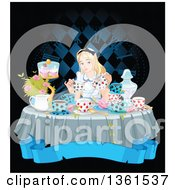 Clipart Of Alice Pouring Tea At A Table With Cupcakes And Flowers Over A Blank Blue Banner And Clock Royalty Free Vector Illustration by Pushkin