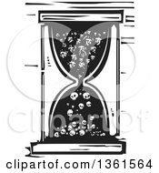 Black And White Woodcut Hourglass With People Turning Into Bones