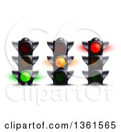 Clipart Of 3d Green Yellow And Red Traffic Lights Royalty Free Vector Illustration