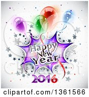 Clipart Of A Happy New Year 2016 Burst With Snowflakes Stars And Party Balloons Over Shading Royalty Free Vector Illustration by Oligo