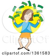 Clipart Of A Cartoon Happy Caucasian Woman Jumping And Throwing Cash Money Royalty Free Vector Illustration