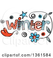 Clipart Of Colorful Sketched Winter Season Word Art Royalty Free Vector Illustration