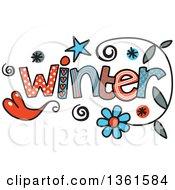 Colorful Sketched Winter Season Word Art