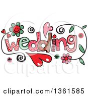 Clipart Of Colorful Sketched Wedding Word Art Royalty Free Vector Illustration