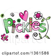Clipart Of Colorful Sketched Pickles Word Art Royalty Free Vector Illustration