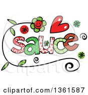 Clipart Of Colorful Sketched Sauce Word Art Royalty Free Vector Illustration by Prawny