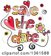 Clipart Of Colorful Sketched Save The Date Word Art Royalty Free Vector Illustration by Prawny