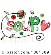 Clipart Of Colorful Sketched Soup Word Art Royalty Free Vector Illustration