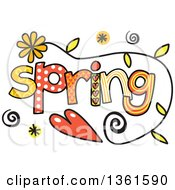 Clipart Of Colorful Sketched Spring Season Word Art Royalty Free Vector Illustration