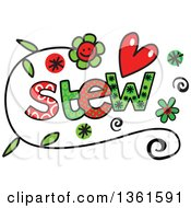 Clipart Of Colorful Sketched Stew Word Art Royalty Free Vector Illustration
