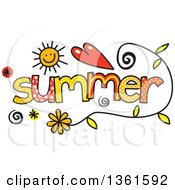 Colorful Sketched Summer Season Word Art
