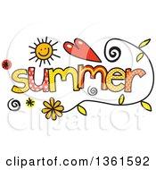 Colorful Sketched Summer Season Word Art