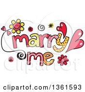 Clipart Of Colorful Sketched Marry Me Word Art Royalty Free Vector Illustration