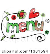 Clipart Of Colorful Sketched Menu Word Art Royalty Free Vector Illustration by Prawny