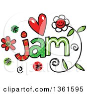 Clipart Of Colorful Sketched Jam Word Art Royalty Free Vector Illustration