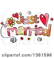 Clipart Of Colorful Sketched Just Married Word Art Royalty Free Vector Illustration