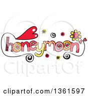 Clipart Of Colorful Sketched Honeymoon Word Art Royalty Free Vector Illustration