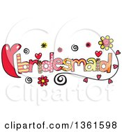 Clipart Of Colorful Sketched Bridesmaid Word Art Royalty Free Vector Illustration