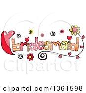 Colorful Sketched Bridesmaid Word Art