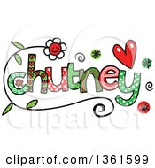 Clipart Of Colorful Sketched Chutney Word Art Royalty Free Vector Illustration by Prawny