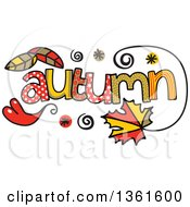 Clipart Of Colorful Sketched Autumn Season Word Art Royalty Free Vector Illustration
