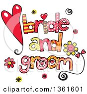 Clipart Of Colorful Sketched Bride And Groom Word Art Royalty Free Vector Illustration