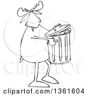 Clipart Of A Cartoon Black And White Moose Taking Out The Garbage Royalty Free Vector Illustration