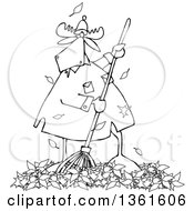 Clipart Of A Cartoon Black And White Moose Raking Autumn Leaves Royalty Free Vector Illustration