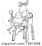 Clipart Of A Cartoon Black And White Baby Moose Sitting In A High Chair Royalty Free Vector Illustration