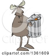 Clipart Of A Cartoon Moose Taking Out The Garbage Royalty Free Vector Illustration