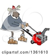 Cartoon Moose Using A Snow Blower