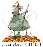 Cartoon Moose Raking Autumn Leaves