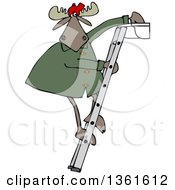 Cartoon Moose Standing On A Ladder And Cleaning Gutters