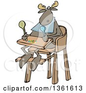 Clipart Of A Cartoon Baby Moose Sitting In A High Chair Royalty Free Vector Illustration by Dennis Cox