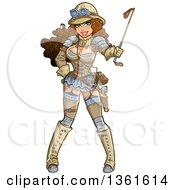 Clipart Of A Sexy Brunette Steampunk Explorer Woman Holding A Riding Crop Royalty Free Vector Illustration by Clip Art Mascots