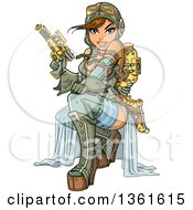 Clipart Of A Sexy Brunette Steampunk Aviatior Crouching With A Ray Gun Royalty Free Vector Illustration