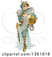 Clipart Of A Sexy Steampunk Deep Sea Diver Woman Holding A Helmet Royalty Free Vector Illustration