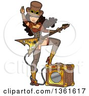 Sexy Brunette Steampunk Rocker Woman Resting One Foot On An Amplifier And Playing An Electric Guitar