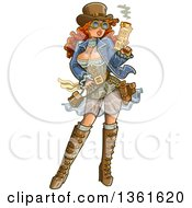 Clipart Of A Sexy Red Haired Steampunk Gunslinger Woman Holding A Smoking Gun Royalty Free Vector Illustration