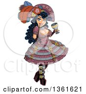Sexy Steampunk Pirate Woman Holding A Wine Goblet And Wearing A Plumed Hat